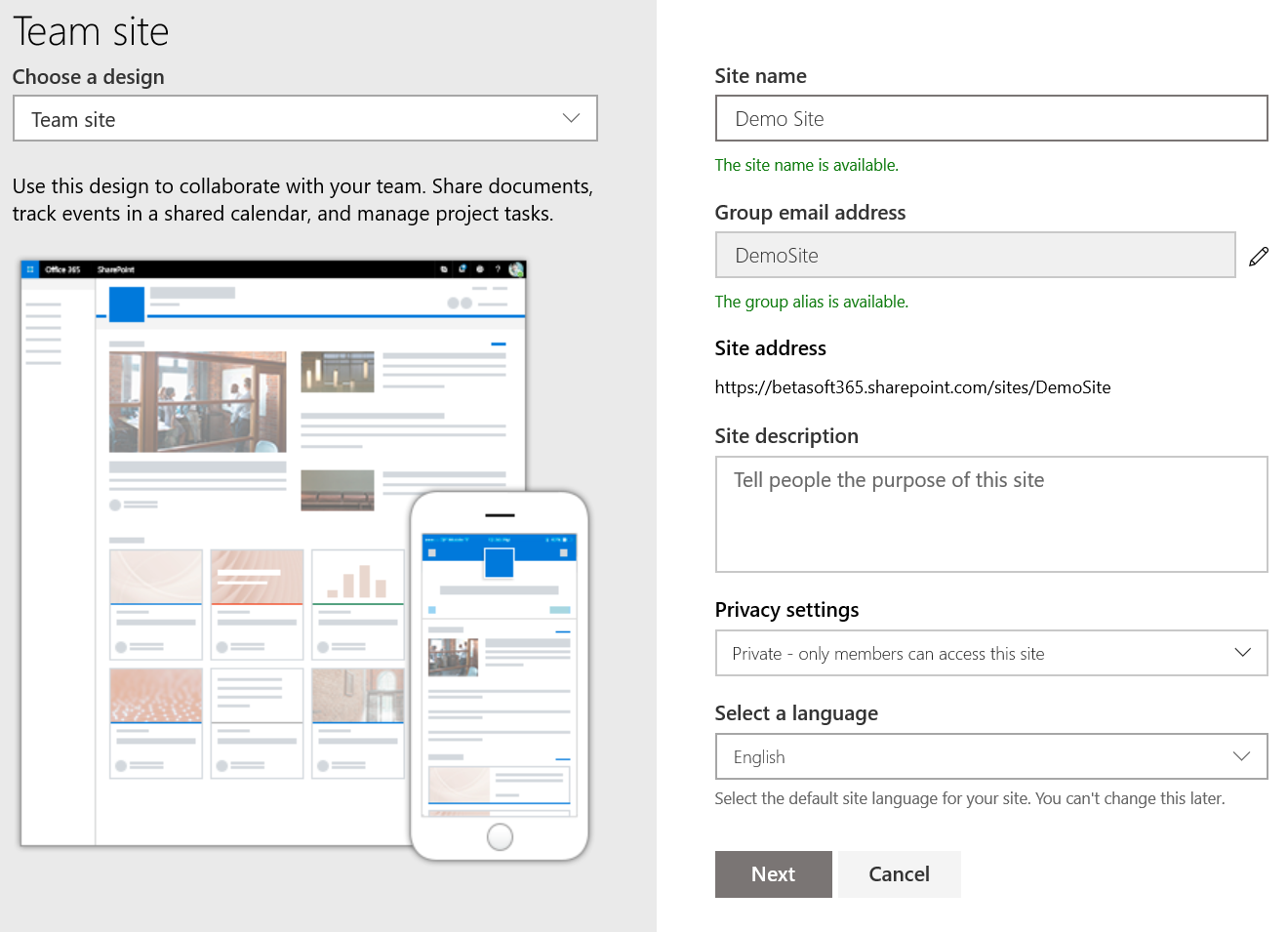 Setting up a new modern SharePoint site