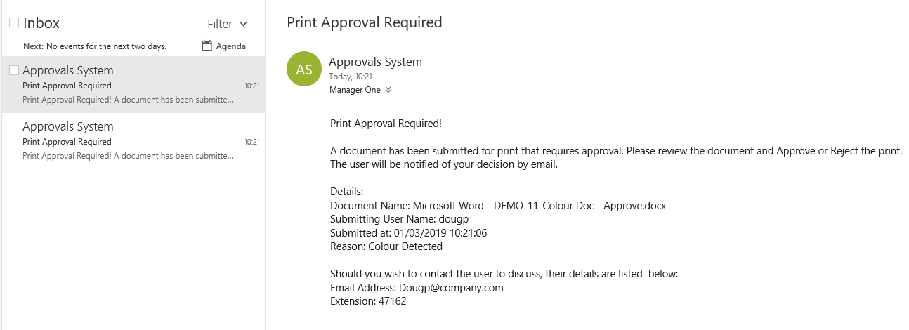 Manager Email Print Approval