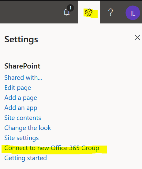 Connect to a new Office 365 Group