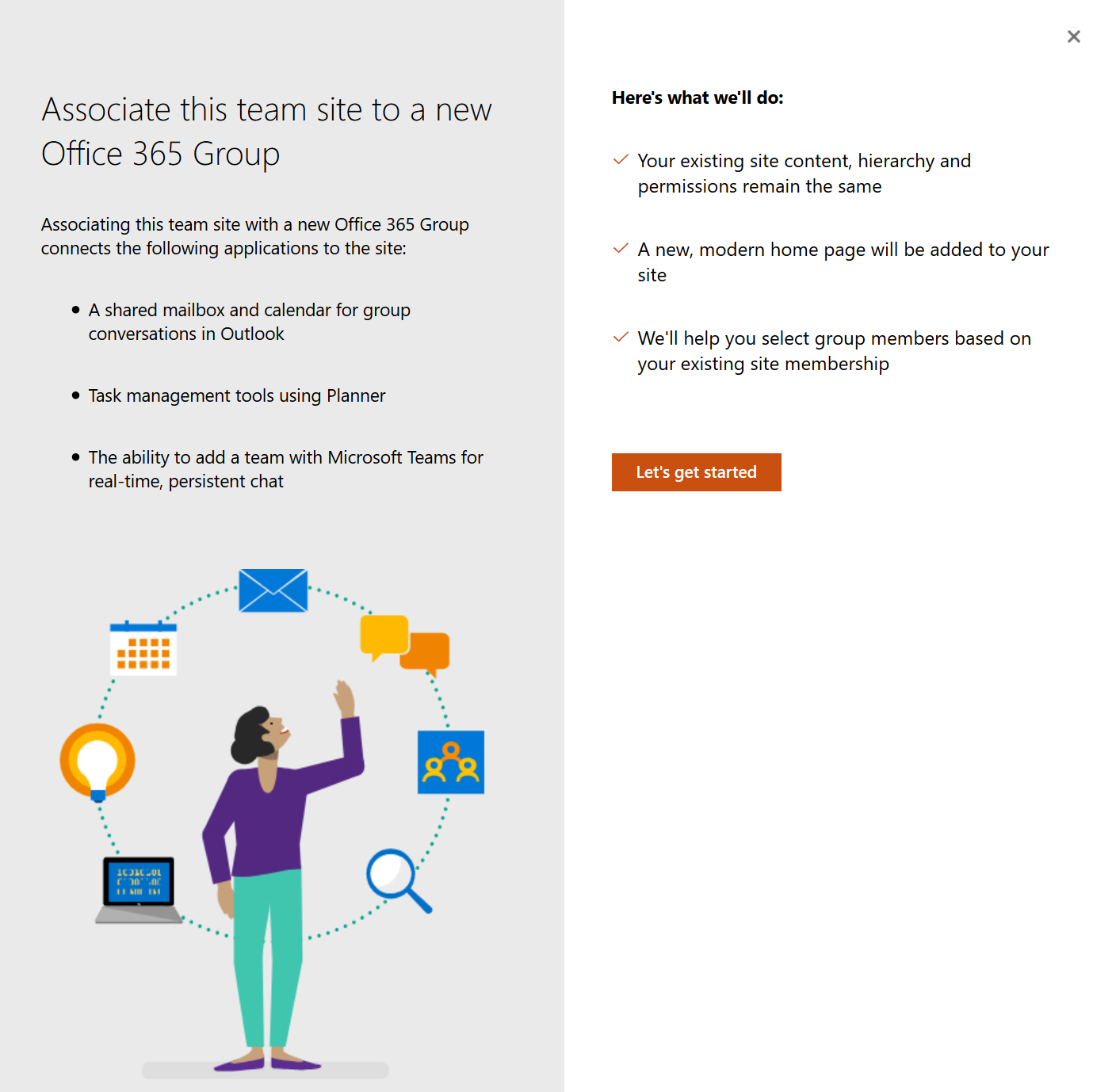 Connect an existing SharePoint Site to an Office 365 Group