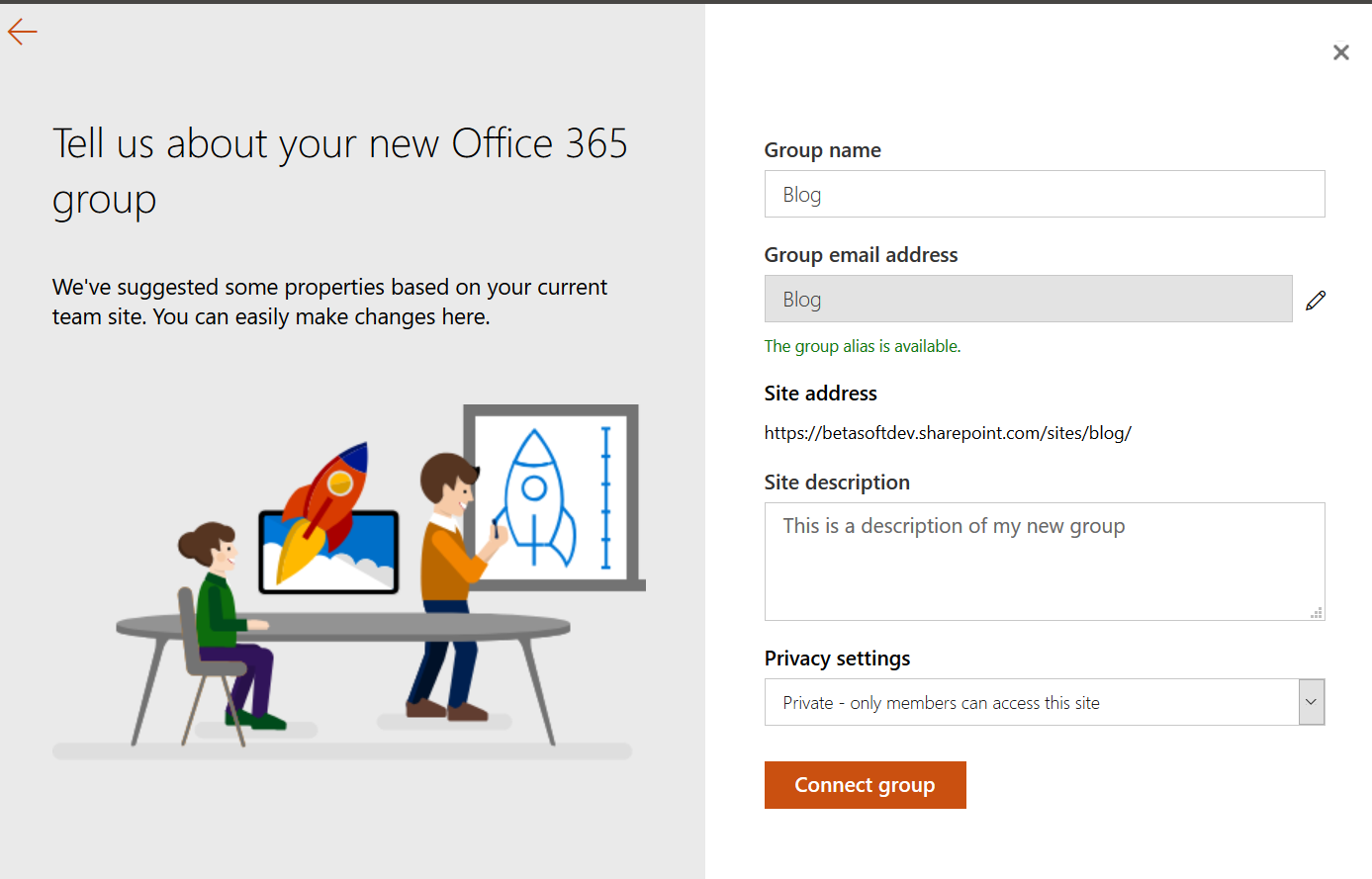 Setting up a new Office 365 Group